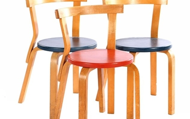 Alvar Aalto (1898-1976), 3 curved birch chairs with blue and...