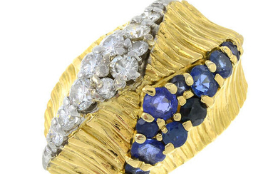 An 18ct gold sapphire and brilliant-cut diamond textured ring, by Kutchinsky.