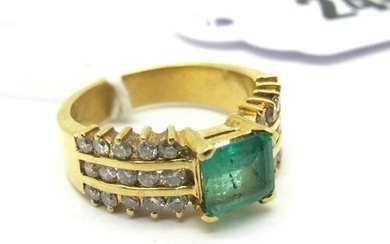An Emerald and Diamond Set Ring, square claw set to the cent...