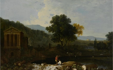 An Italian river scene, with the Temple of Clitumnus and ruins, two figures and cows, Richard Wilson, R.A.