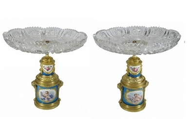 Antique French Sevres pair of bronze, porcelain &