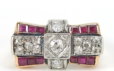 Art Deco unmarked gold diamond and ruby ring of bow design, ...