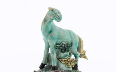 CHINESE TURQUOISE HORSE ON CLOUDS FIGURINE