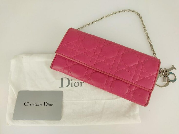 """CHRISTIAN DIOR Leather wallet with chain """"Lady Dior"""""""