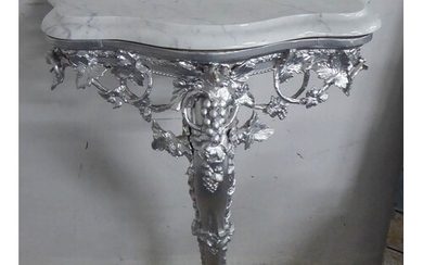 CONSOLE TABLE, continental style, silvered base, marble top,...