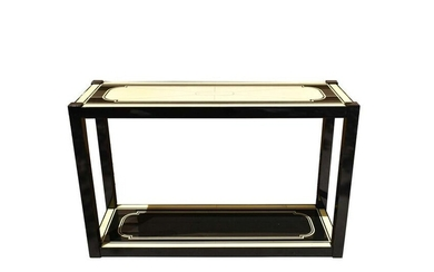 CONTEMPORARY EBONIZED AND FAUX VELLUM SIDE TABLE