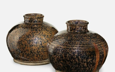 Chinese, Black and Russet-glazed jars, set of two