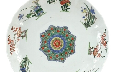 Chinese porcelain plate hand painted in the famille verte pa...