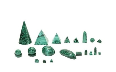 Collection of Various Malachite Desk Articles.