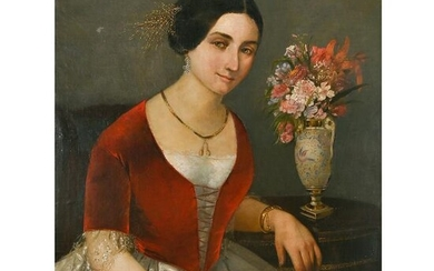 Continental School, Portrait of a Woman, oil on canvas