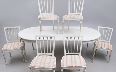 DINING GROUP. 7 parts, Gustavian style, 20th century.