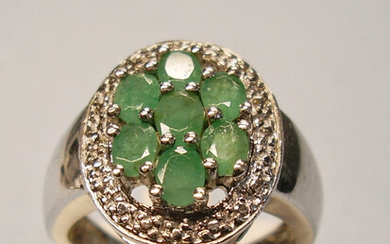 EMERALD RING SILVER HARRY IVENS.