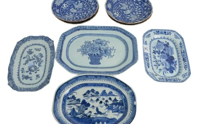 Eight Piece Group to include four Chinese blue and