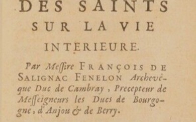 FÉNELON (François de). Explanation of the maxims of the saints on the interior life. In Paris, by P. Auboin, P., Emery, C. Clousier, 1697. In-12, [18] f., 272 p., midnight blue morocco, spine with 5 nerves, title, place and date gilt, small...