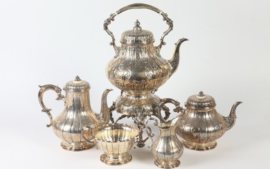 FIVE-PIECE LATE 19TH CENTURY HEAVY SILVER-ON-BRASS (PLATED) TEA/COFFEE SERVICE. Made...
