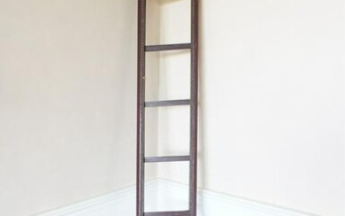 FOLDING LEATHER & WOOD POLE LIBRARY LADDER