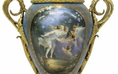 FRENCH SEVRES STYLE ORMOLU-MOUNTED PORCELAIN LAMP