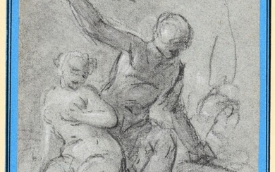 Figure sketch. 1st half 18th c Drawing, black chalk, heightened with white, 16,2 x 17,7...