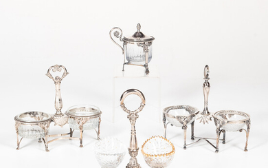 French Sterling Silver and Glass Salts and Mustard Pot