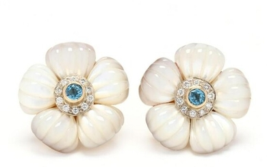 Gold, Mother-of-Pearl, and Gem-Set Earrings, MAZ