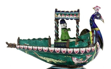 Indian Enameled Silver Peacock Vessel with Figure