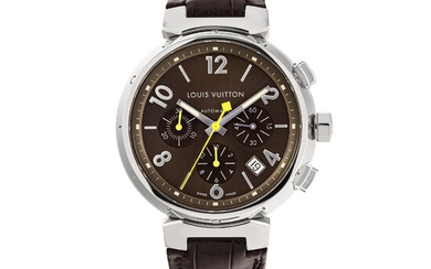 LOUIS VUITTON, STEEL TAMBOUR, CHRONOGRAPH WITH DATE