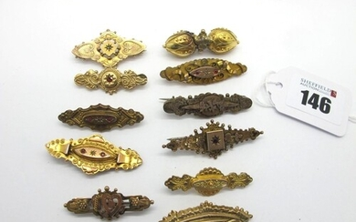 Late XIX /Early XX Century Bar Brooches, including 9ct gold,...