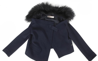 Marni: An asymmetric dark blue jacket made of wool with a removable fur collar, pockets and button on the front. Size 38. – Bruun Rasmussen Auctioneers of Fine Art