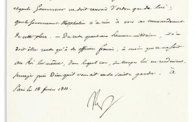 """NAPOLÉON. Letter Signed, """"Nap,"""" to his Minister of"""