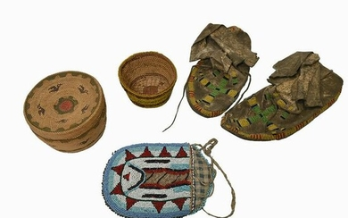Native American Trade Bead Purse, Moccasins and