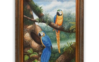 Oil On Canvas Parrot Painting