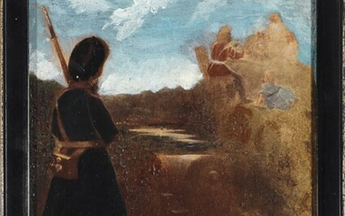 Painter unknown, 19th century: Four miniature paintings. Unsigned. Oil on panel. 9 x 13.5 -...