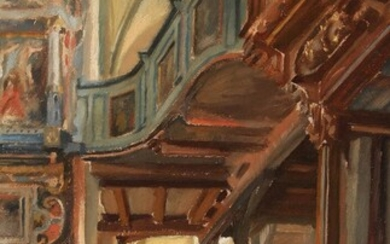 NOT SOLD. Painter unknown, 20th century: Interior from church. Indistinctly signed. Oil on paper, laid on panel. 63 x 38 cm. – Bruun Rasmussen Auctioneers of Fine Art