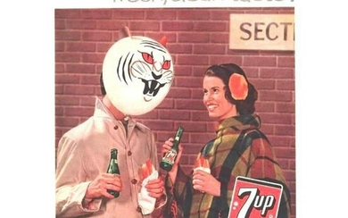 Pair of 1950's Mid-Century 7-Up Soft Drink Ads
