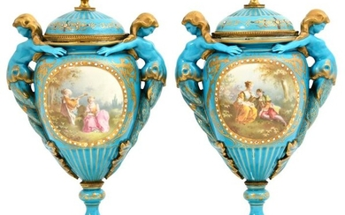 Pair of French Gilt Bronze Mounted Porcelain Covered