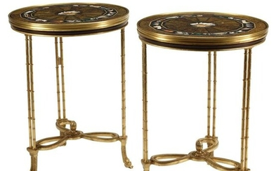 Pair of French Neoclassical Dore Bronze Tables with