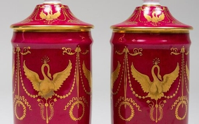 Pair of Le Tallec Claret Ground Porcelain Jars and