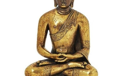 Property of a Gentleman (lots 36-85) A Mongolian gilt-bronze figure of Amitabha Buddha, 18th century, seated in dhyanasana with his hands in dhyanana mudra holding an alms bowl, wearing a monk's robe draped over his left shoulder, the hem of which...