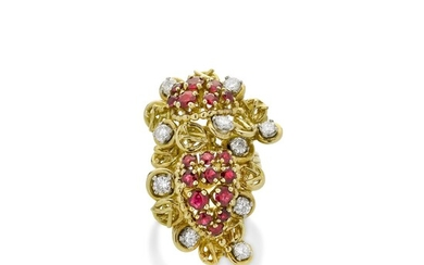 Ring in yellow gold, white gold, diamonds and rubies