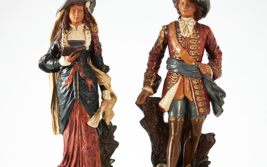 SCULPTURES, a couple, terracotta, late 19th century, probably Germany, in the form of woman and man, polychrome painted.