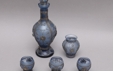 SERVING SET, 7 parts, glass and filigree, Cyprus, first half of the 20th century.