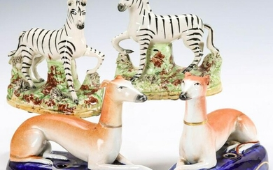 STAFFORDSHIRE WHIPPET QUILL HOLDERS AND ZEBRA PAIR