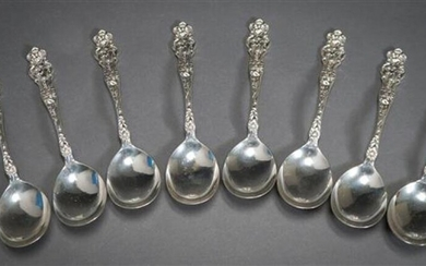 Set of Eight Wallace Sterling Silver 'Irian' Pattern Soup Spoons, 7 inches, 13.5 oz