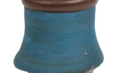 Signed Art Pottery Vase in Blue and Brown