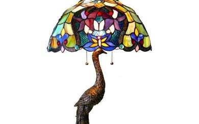 Tiffany-style Peacock Stained Glass Lamp