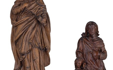 Two 17thC wooden sculptures, possibly Southern Netherlands, one a matching base, H - 21,6cm (without base) - 29,5 cm (with base)