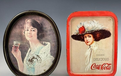 Two (2) Antique Coca Cola Advertising Tin Litho Serving