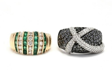 Two Gold and Gem-Set Rings
