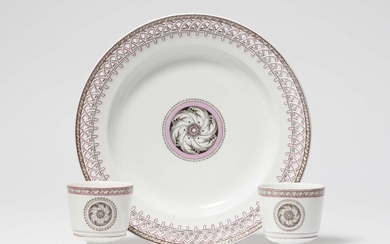 Two Neoclassical Berlin KPM porcelain cups and one dessert plate with grisaille decor