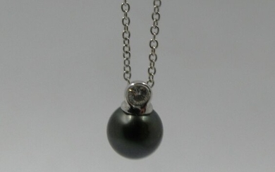 18 kt. White gold - Necklace with pendant - Diamond, 8mm Tahitian pearl